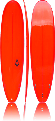 "SALT 7'6"" Mini-Mal Surfboard Red Resin Tint"